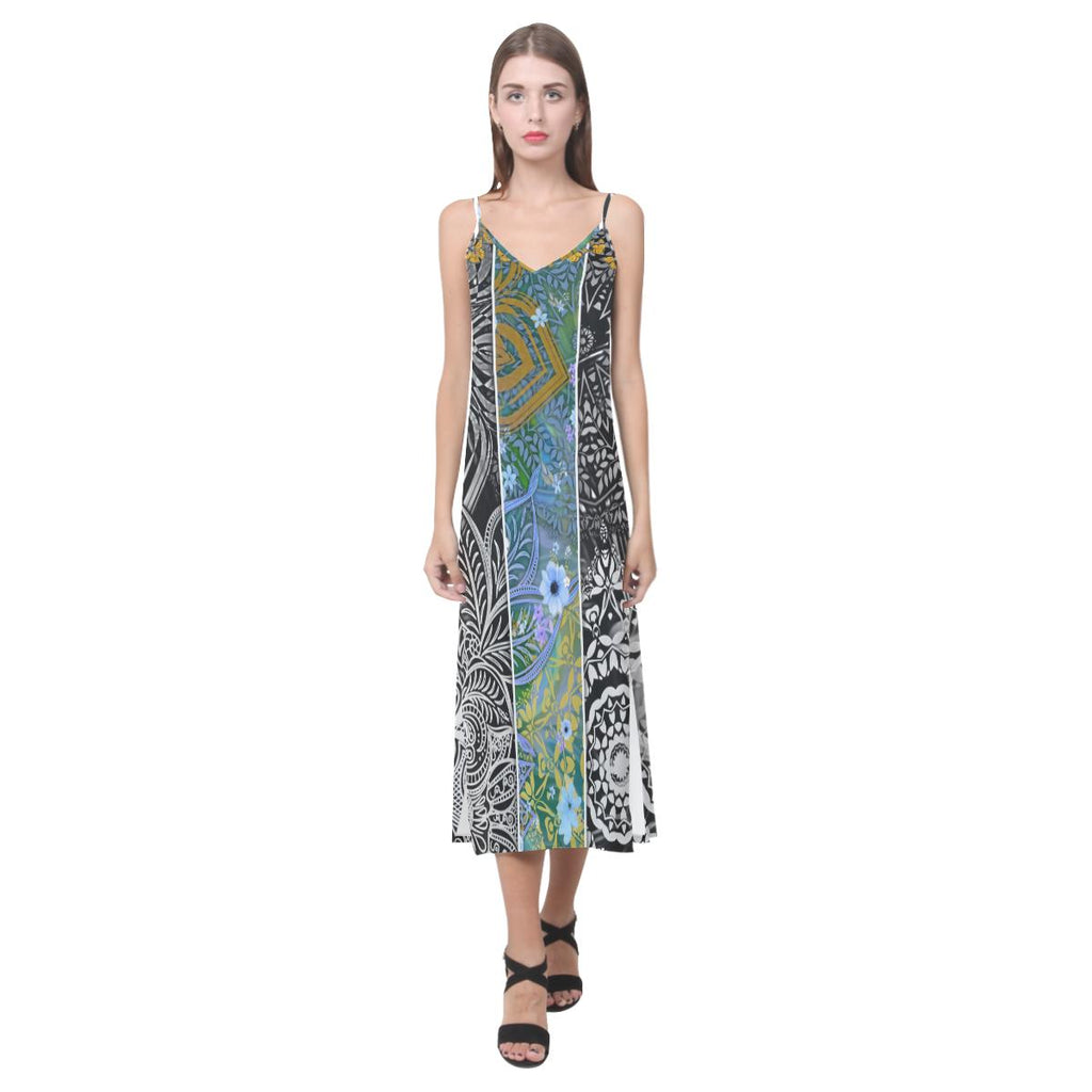 Sacred Geometry Yellow Butterflies Multi Color V-Neck Open Fork Long Dress - Maui Woke