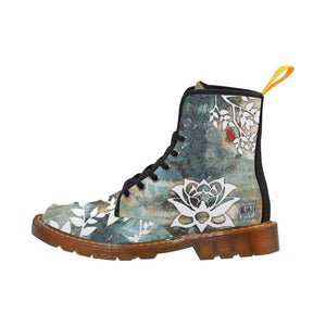 Rustic Lotus Lace Up Canvas Boots - Maui Woke