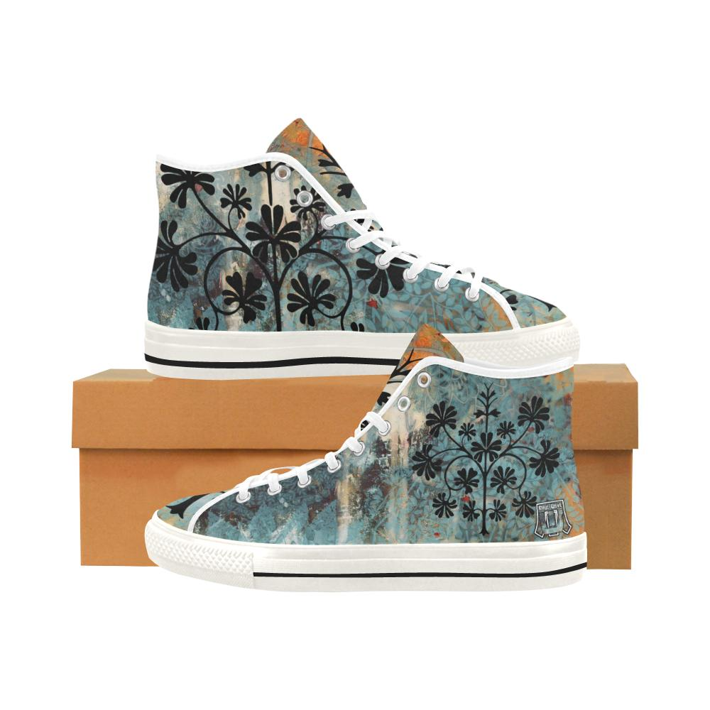 Boho Blue Women's Vancouver High Top Canvas Shoes-SHD|Maui Woke, Bohemian design - Maui Woke