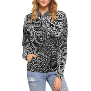 Sacred Geometry Black and White Women's Hoodie-SHD|Maui Woke, Sacred Geometry - Maui Woke