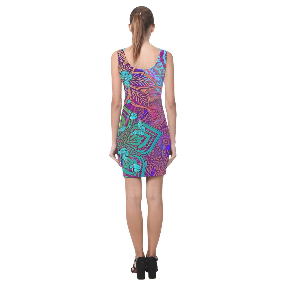 Sacred Geometry Blue Butterflies Vest Dress - Maui Woke
