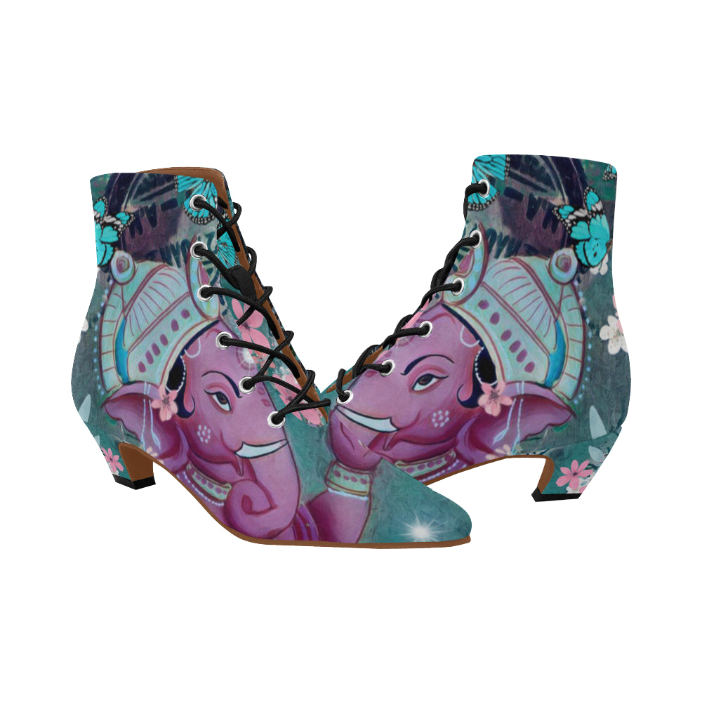 Purple Ganesha Chic Low Heel Lace Up Ankle High Boots - Maui Woke