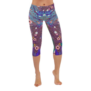 Sacred Geometry Flowers Muti-colored Low Rise Capri Leggings - Maui Woke