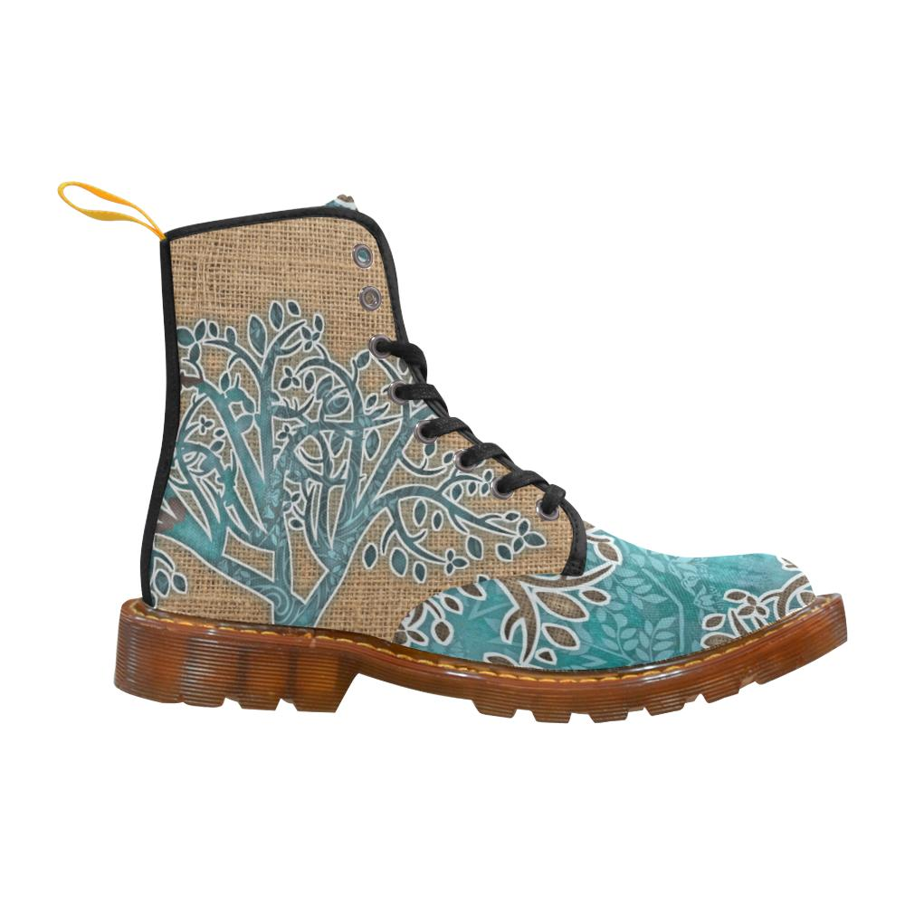 Boho Blue Lace Up Canvas Boots - Maui Woke