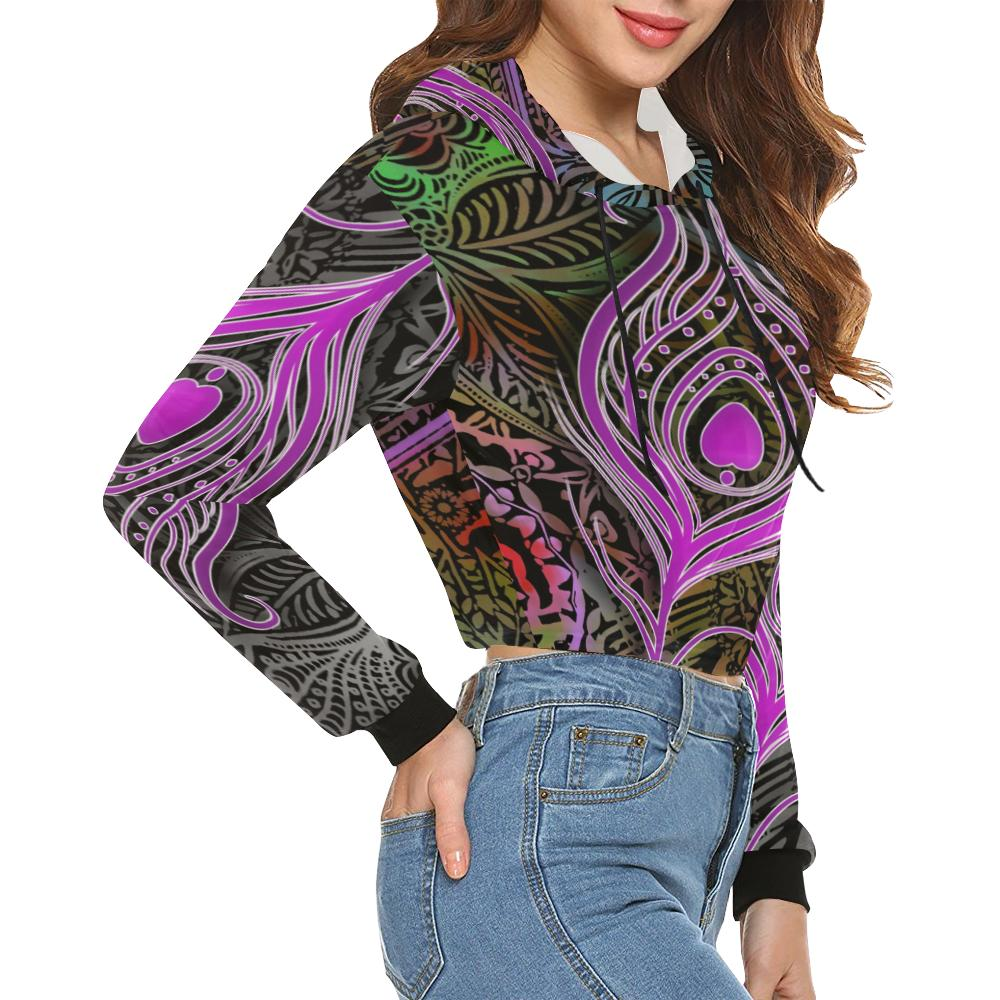 Peacock Multi Color Cropped Hoodie - Maui Woke
