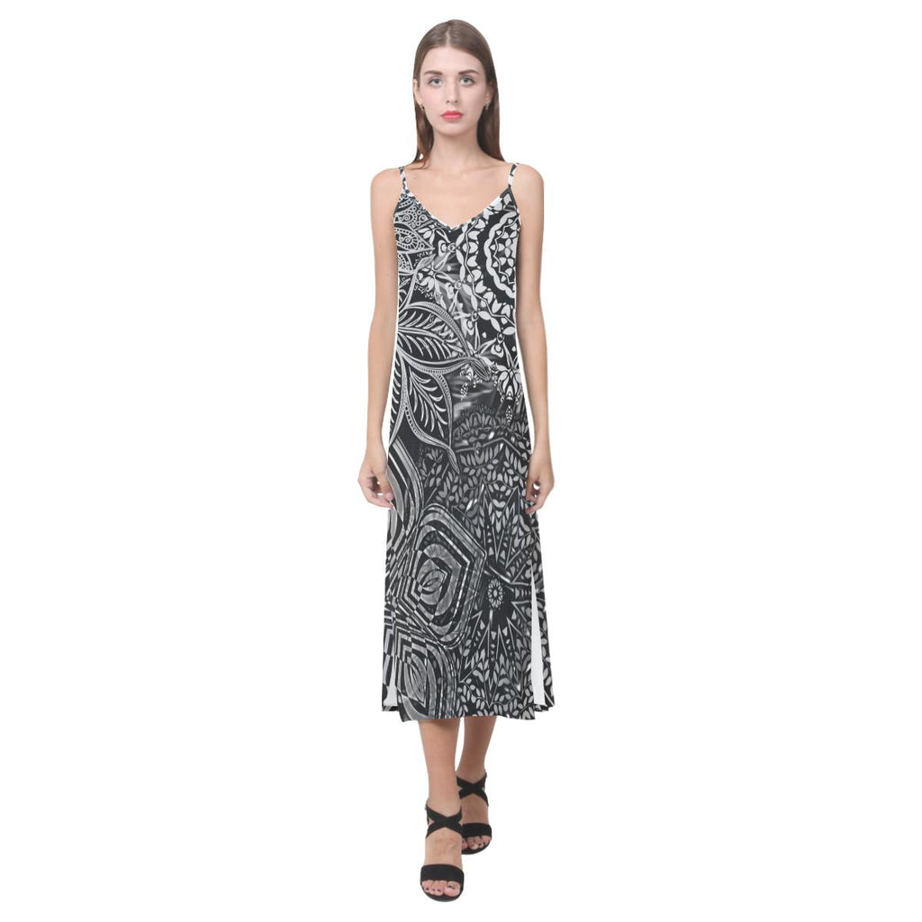 Sacred Geometry Blk/Wt V-Neck Open Fork Long Dress - Maui Woke