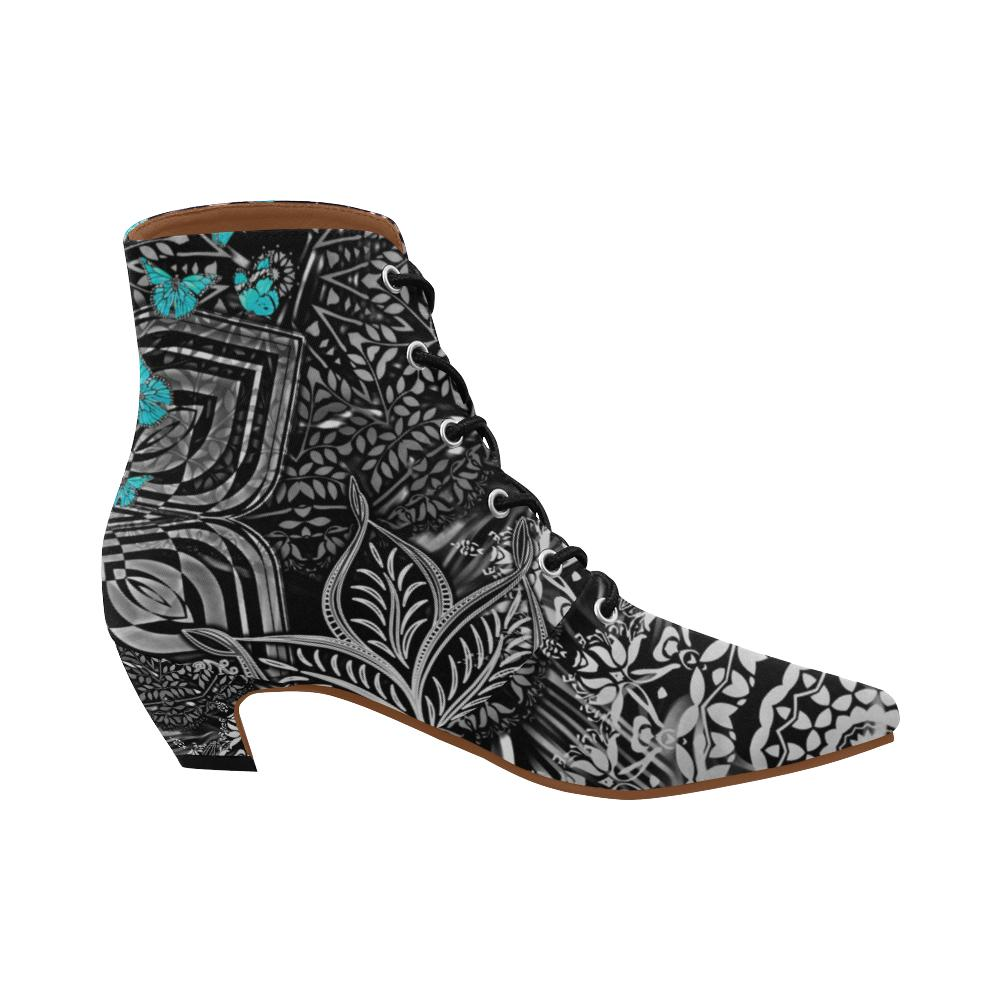 Sacred Geometry Blue Butterflies Chic Low Heel Ankle High Boots - Maui Woke
