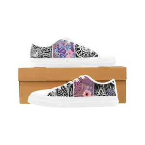 Sacred Geometry Multi-color White Trim Canvas Shoes - Maui Woke