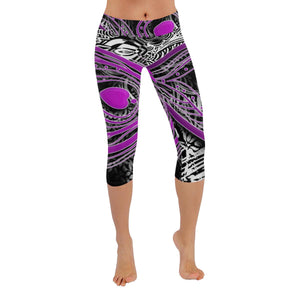 Peacock Purple Low Rise Capri Leggings - Maui Woke