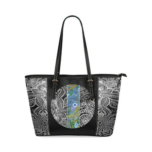 Sacred Geometry Blue Stripe Leather Tote Bag - Maui Woke