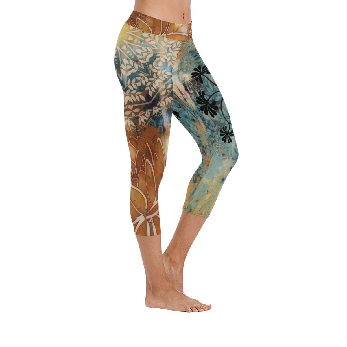 Boho Rustic Yoga Low Rise Capri Leggings - Maui Woke