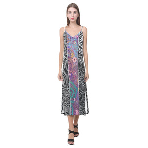 Sacred Geometry Multi Color V-Neck Open Fork Long Dress - Maui Woke