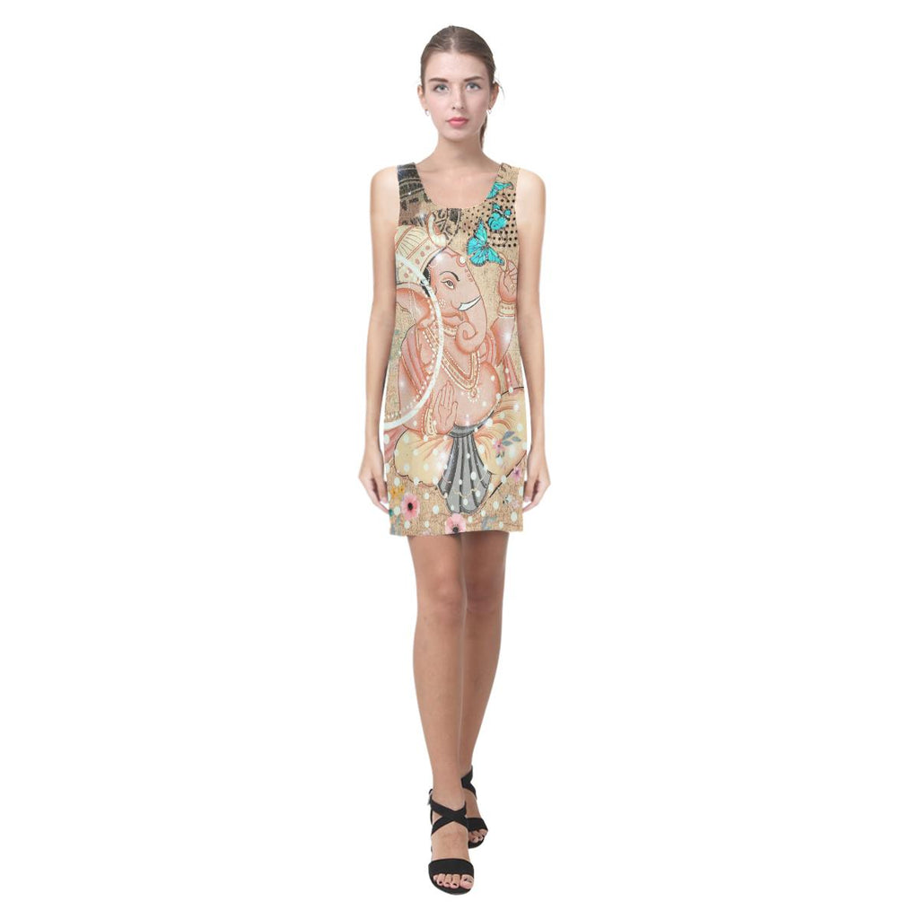 Ganesha Tan/Blue Butterflies Sleeveless Dress-SHD|Maui Woke - Maui Woke