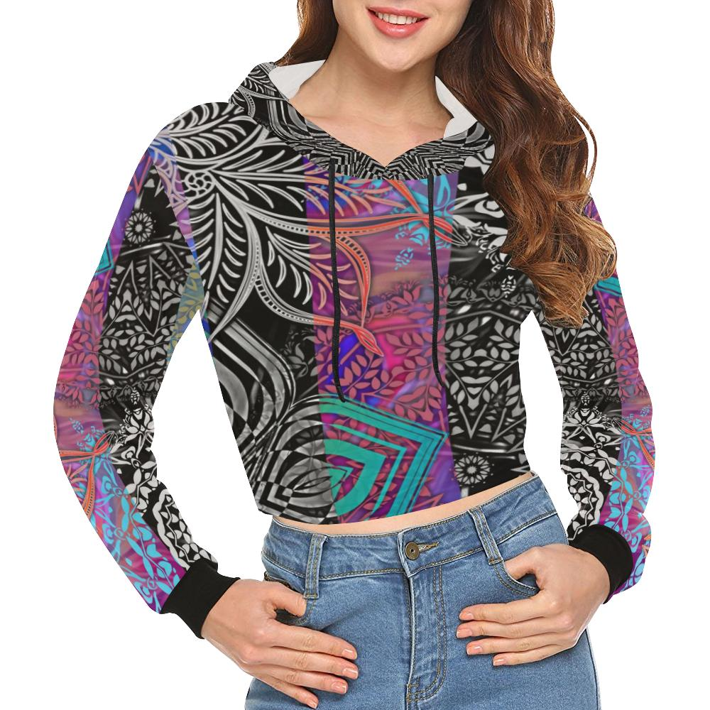 Sacred Geometry Multi Color Women's All Over Print Cropped Hoodie (Model H22), All-over Hoodies - Maui Woke