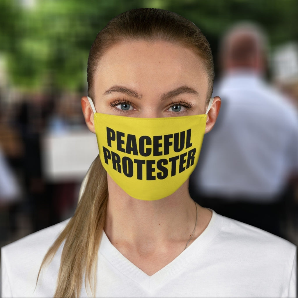 Political Meme PEACEFUL PROTESTER  • Bright Yellow Black Bold Print Fabric Face Mask 🔥 SALE⚡20% Off