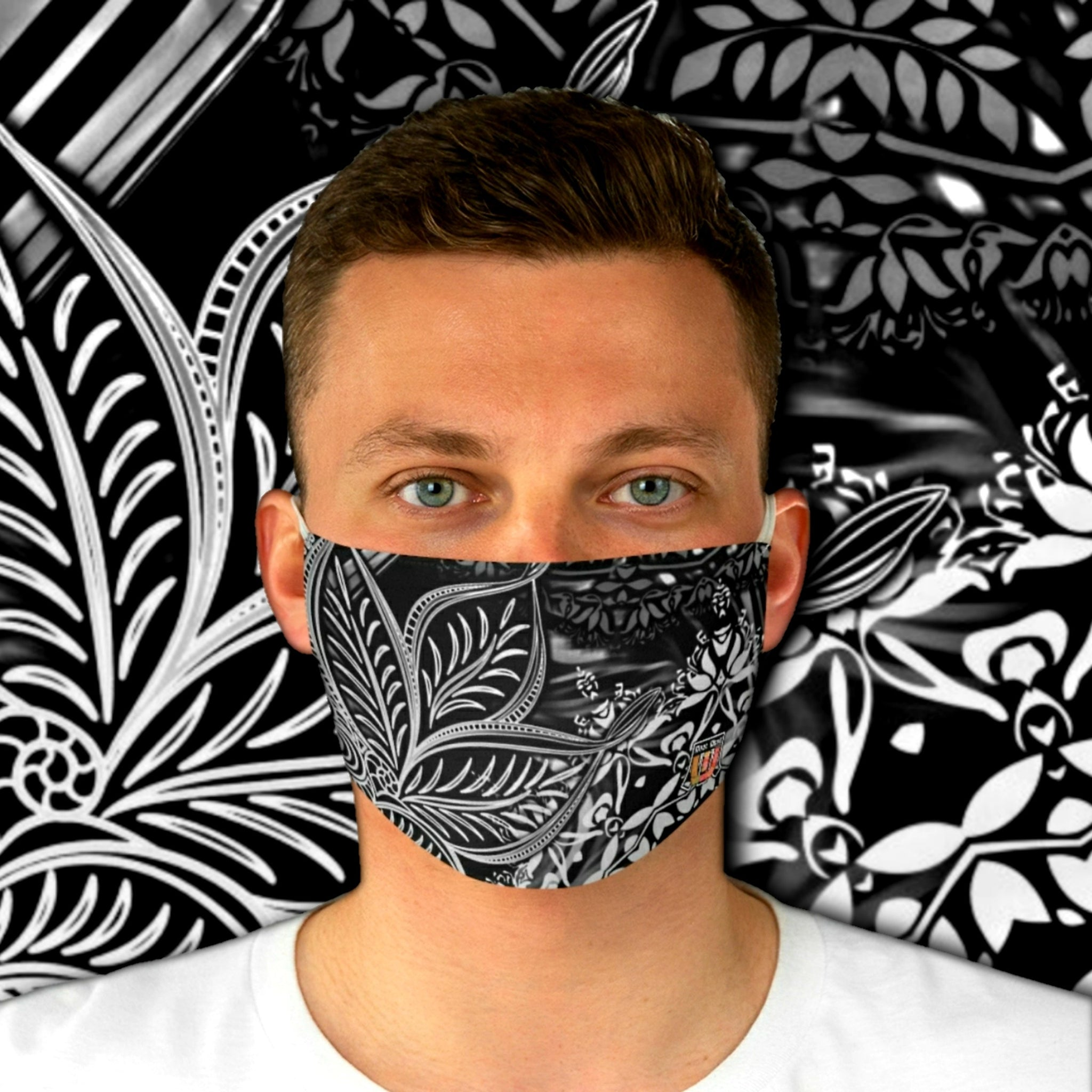Casual Sacred Geometry Inspired • B&W Fabric Face Mask - Maui Woke