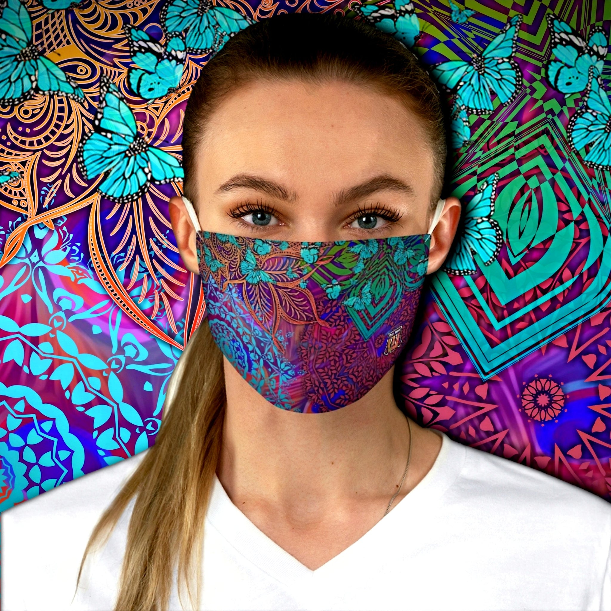 Colorful Sacred Geometry Inspired-Colorful Butterfly Fabric Face Mask - Maui Woke