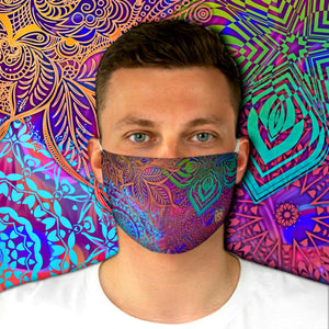 Colorful Sacred Geometry Inspired-Colorful Fabric Face Mask - Maui Woke