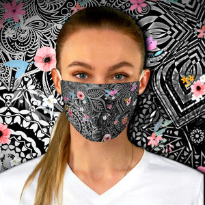 Colorful Sacred Geometry Inspired - Black and White Pink Flower Fabric Face Mask - Maui Woke
