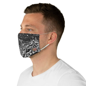 male side Sacred Geometry Inspired-Black/White Fabric Face Mask