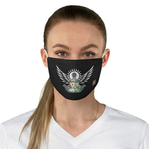 female front Wings To Fly-Black Fabric Face Mask