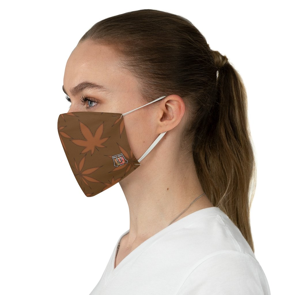 female side Marijuana Leaf-Brown Fabric Face Mask