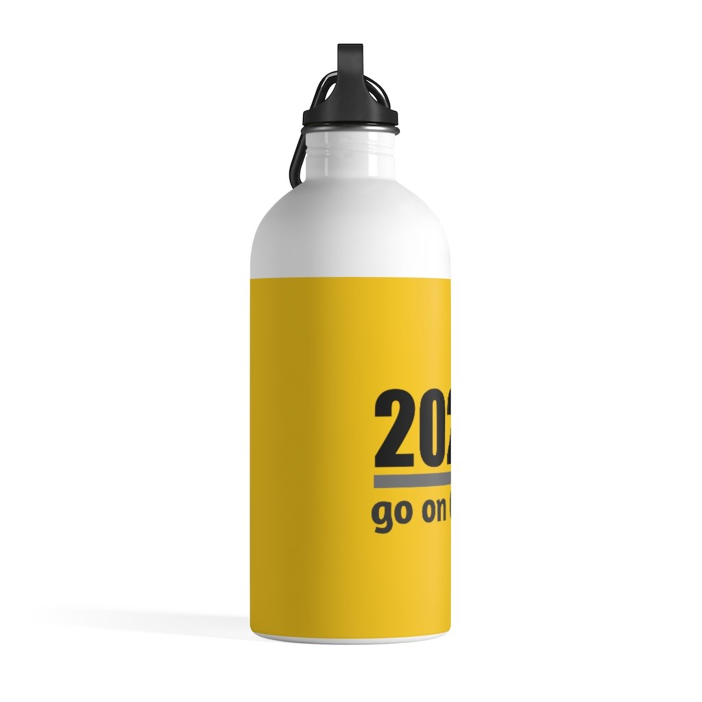 Go On GIT! 2020 • 14oz Stainless Steel Water Bottle • Kick • Black and Yellow - Maui Woke