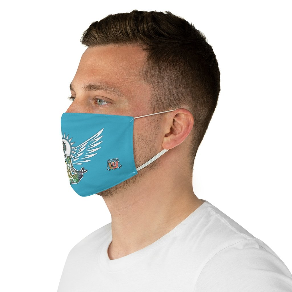 male side Wings To Fly-Blue Fabric Face Mask