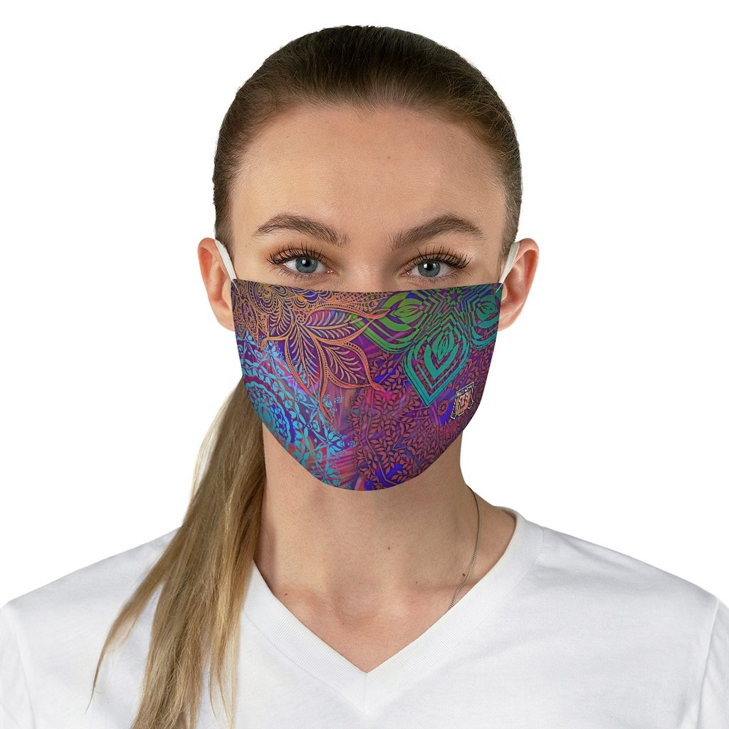 female front Sacred Geometry Inspired-Colorful Fabric Face Mask