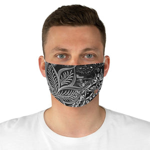 male front Sacred Geometry Inspired-Black/White Fabric Face Mask