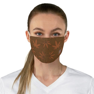 female front Marijuana Leaf-Brown Fabric Face Mask