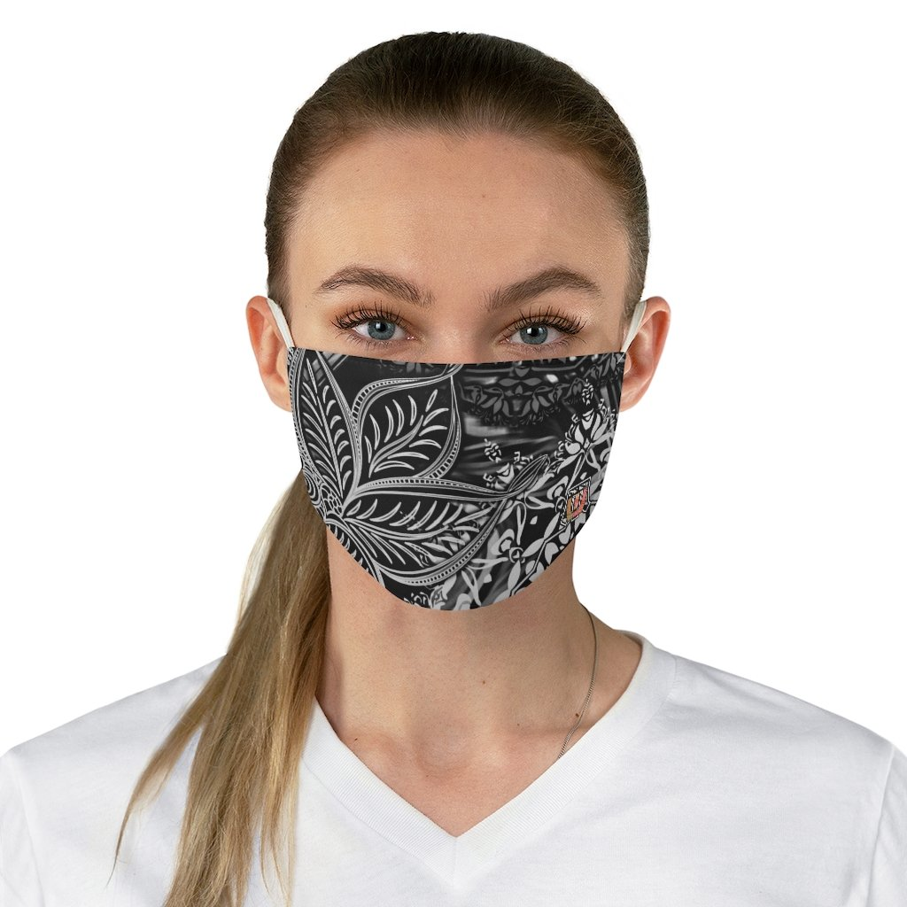 female front Sacred Geometry Inspired-Black/White Fabric Face Mask