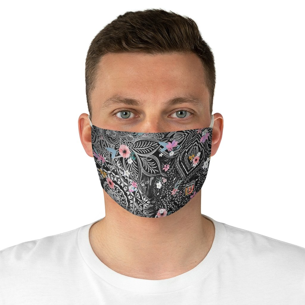 male front Sacred Geometry Inspired-Flower Fabric Face Mask