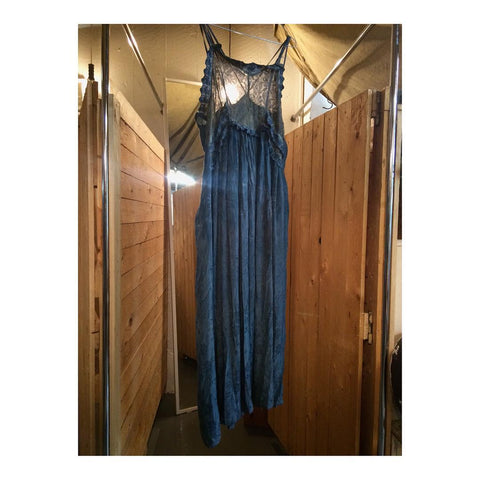 Blue Lace and Damask Print Satin Long Slip Dress
