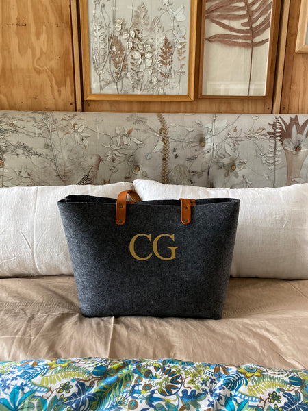 Personalised eco recycled plastic bottle felt and leather handle shopper bag with monogram