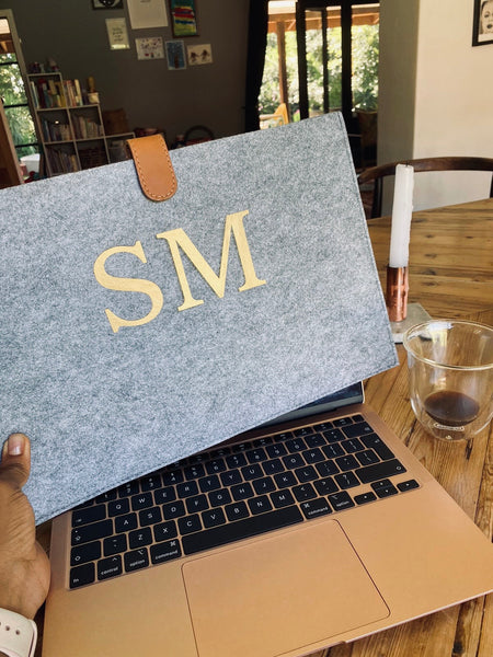 Personalised eco felt recycled plastic bottle laptop sleep with leather closer