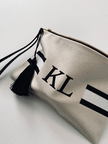 Classic stripe monogram clutch bag with leather handle and tassel, personalised gifts