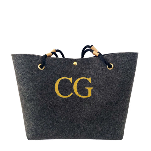 Personalised eco recycled plastic bottle felt and rope shopper bag with monogram