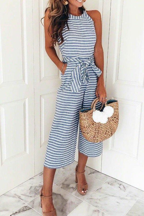 3ed2f0965efd SIZESE Bohemian Round Neck Striped Blue Cotton Blends One-piece Jumpsuits