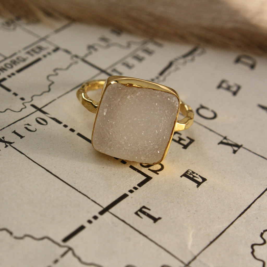 Paloma Statement Solitaire - Snow Druzy