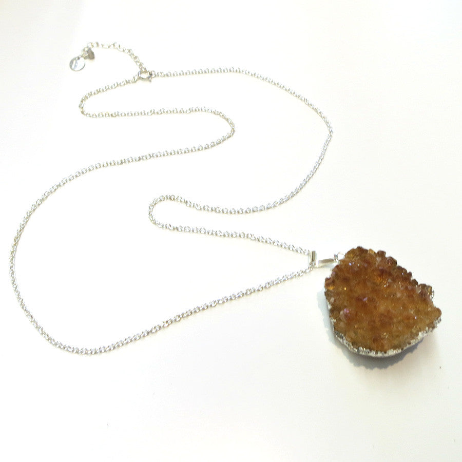 Clementine Geode Necklace - Silver