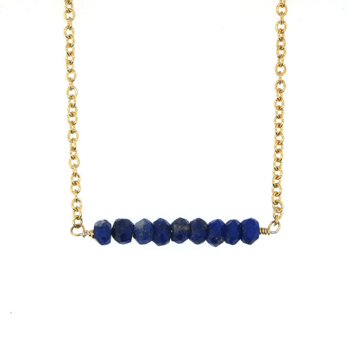 Addison Bar Necklace - Lapis / Gold