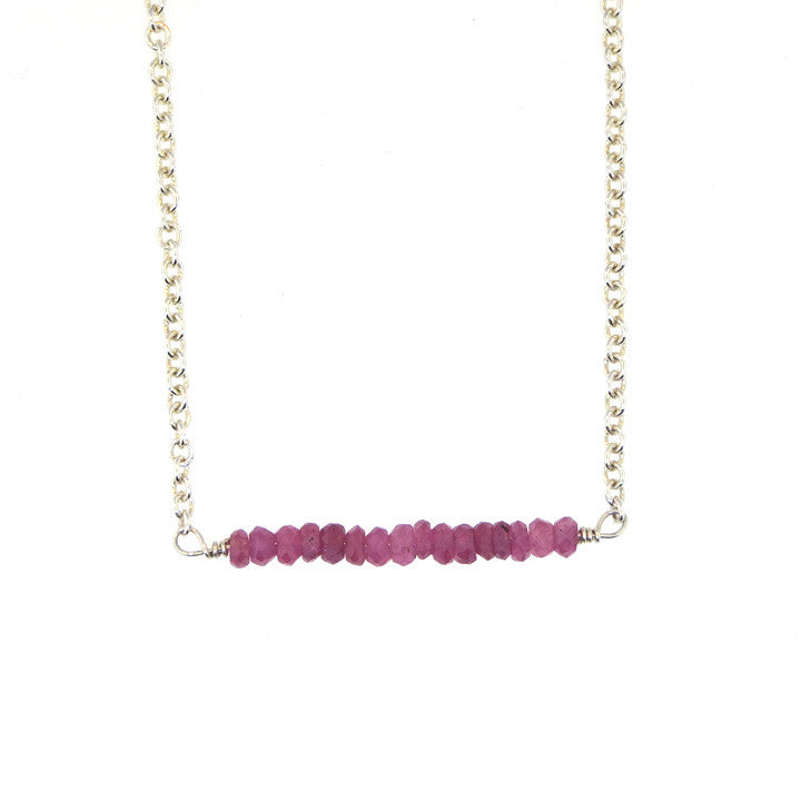Scarlett Bar Necklace - Ruby / Silver