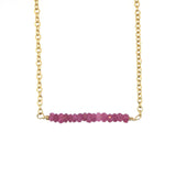 Scarlett Bar Necklace - Ruby / Gold