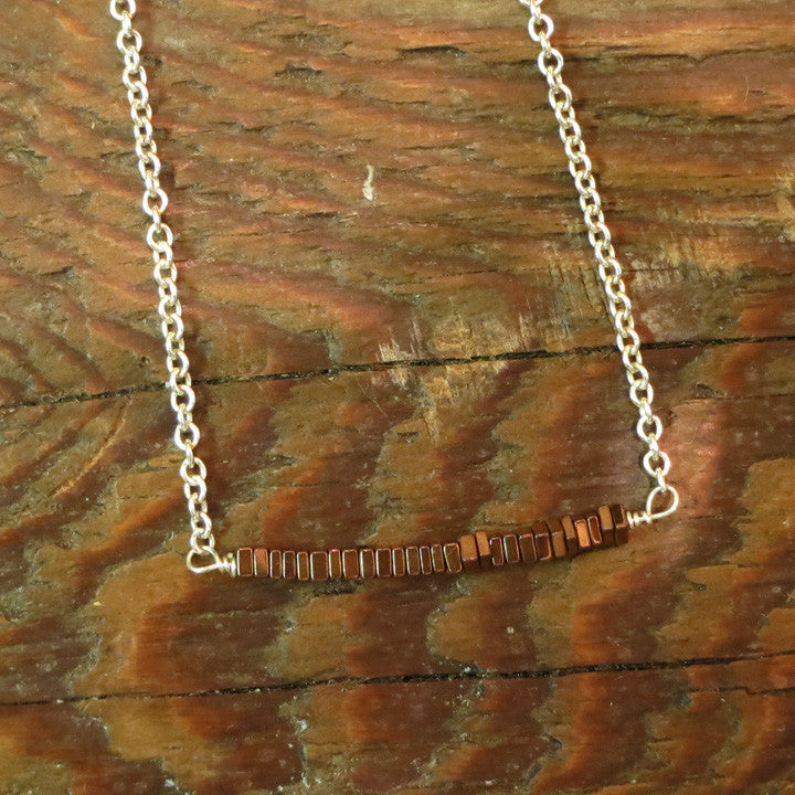 Sutton Bar Necklace - Copper Hematite / Silver