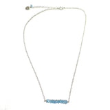 Tallulah Bar Necklace - Blue Topaz / Silver