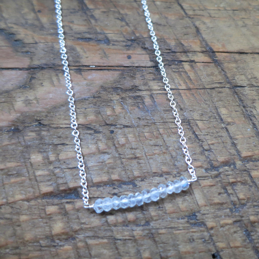 Stella Bar Necklace - Moonstone / Silver
