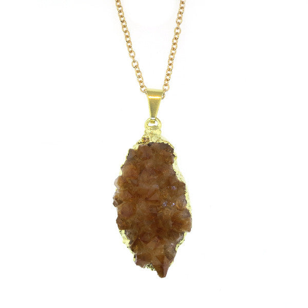 Clementine Oblong Geode Necklace - Gold