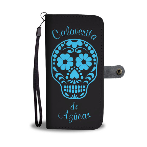 Calavera black and blue Wallet Phone Case