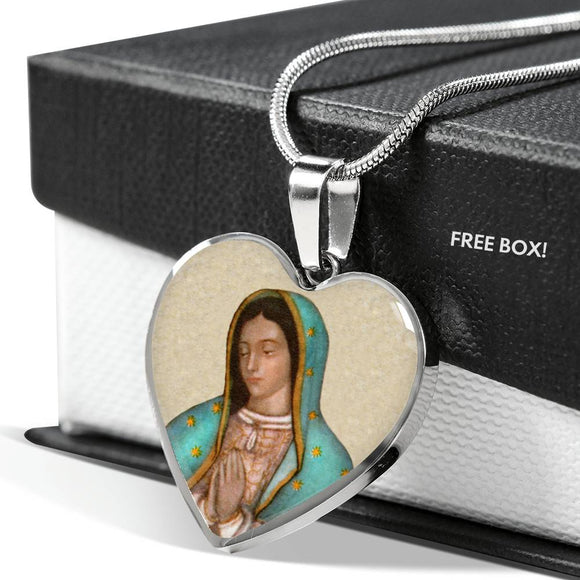 Our Lady of Guadalupe (Virgen de Guadalupe) Heart Pendant Luxury Necklace